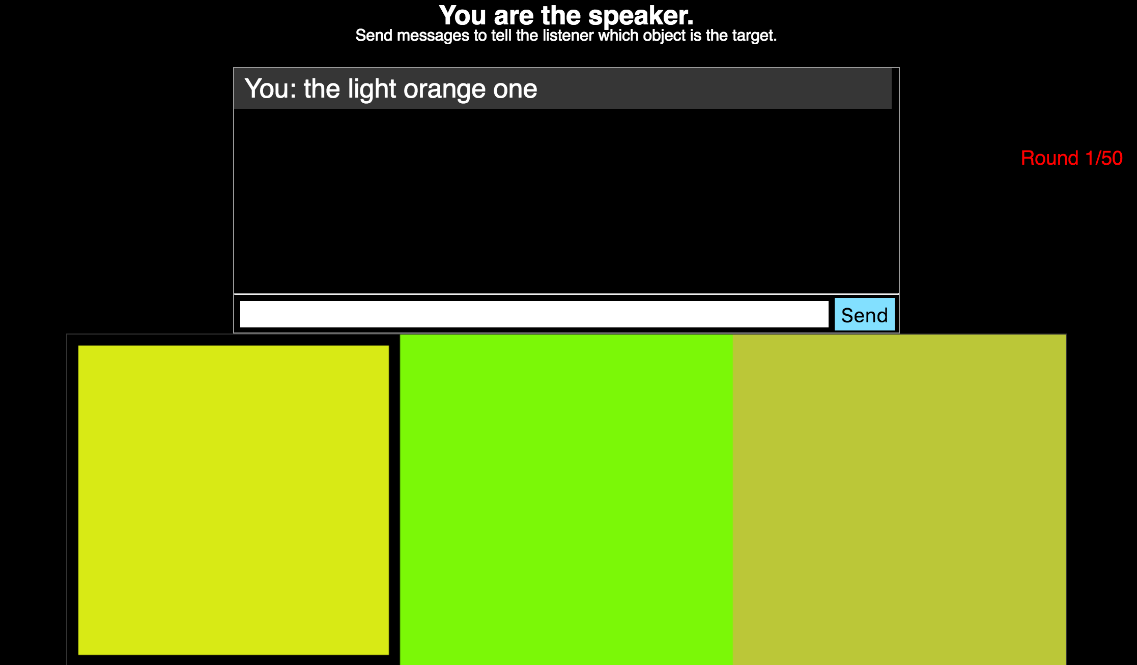 Speaker's view in color reference task.